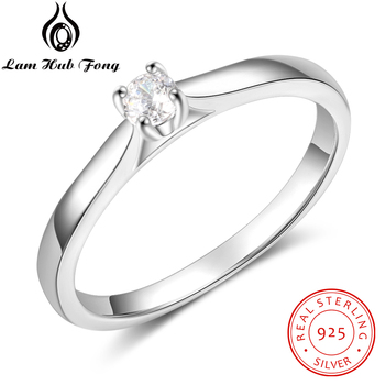 925 Sterling Silver Ring Simple Round CZ Finger Ring for Women 925 Silver Wedding Engagement Gift Fine Jewelry  (Lam Hub Fong) бра mw light 317021902