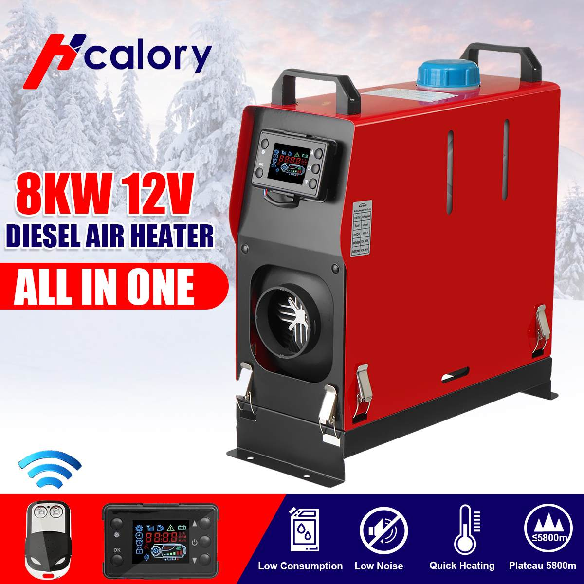 HCalory All In One Air Diesels Heater 1-8KW 12V One Hole Car Heater For Trucks Motor-Homes Boats Bus +LCD Key Switch+Remote