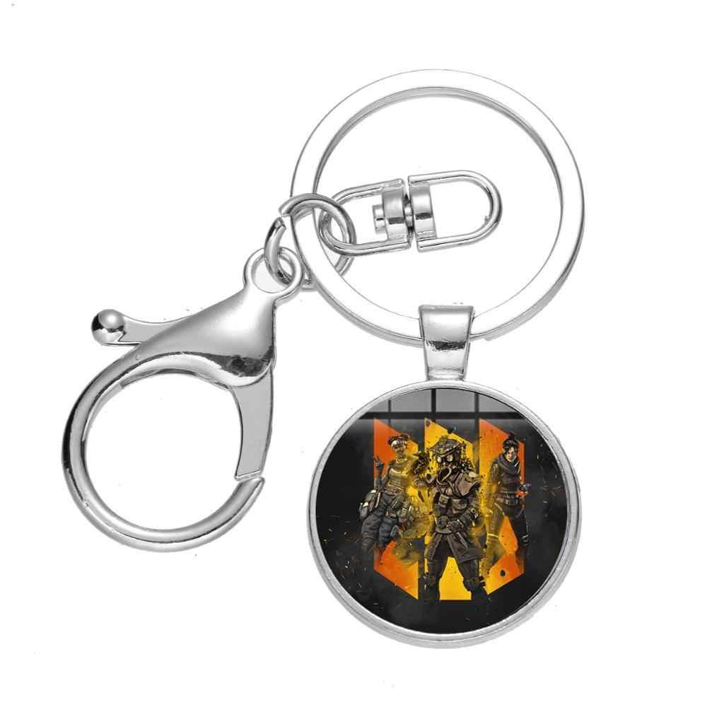 SONGDA 2019 juego caliente Apex leyendas llavero moda juego héroe Logo hecho a mano vidrio Domo coche llavero para niño amigo regalos