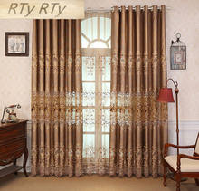 Luxury customized European finished curtain gold luxury villa living room bedroom water soluble embroidery curtain fabric(China)