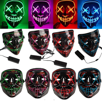 Halloween Scary Mask Costume Mask EL Wire Light Cosplay LED Costume Mask Wire Light for Halloween Festival Party 10 Colors Q30 2020 hot sales fashion led mask luminous glowing halloween party mask neon el mask halloween cosplay mask mascara horror maska
