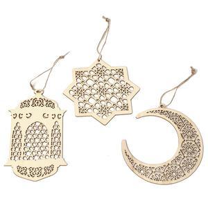 Image 2 - 3pcs Wooden Eid Mubarak Pendant Sets DIY Holiday Party Hollow Out Wooden Moon Islam Muslim Ramadan Hanging Decoration