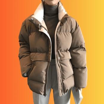 FORYUNSHES Women Winter Parkas Coats Female Solid Coffee Warm Thicken Cotton Padded Bread Jackets 2020 Fashion Korean Style zawfl fashion coats female winter korean style double row beading long sleeved slim tweed women cardigan jackets
