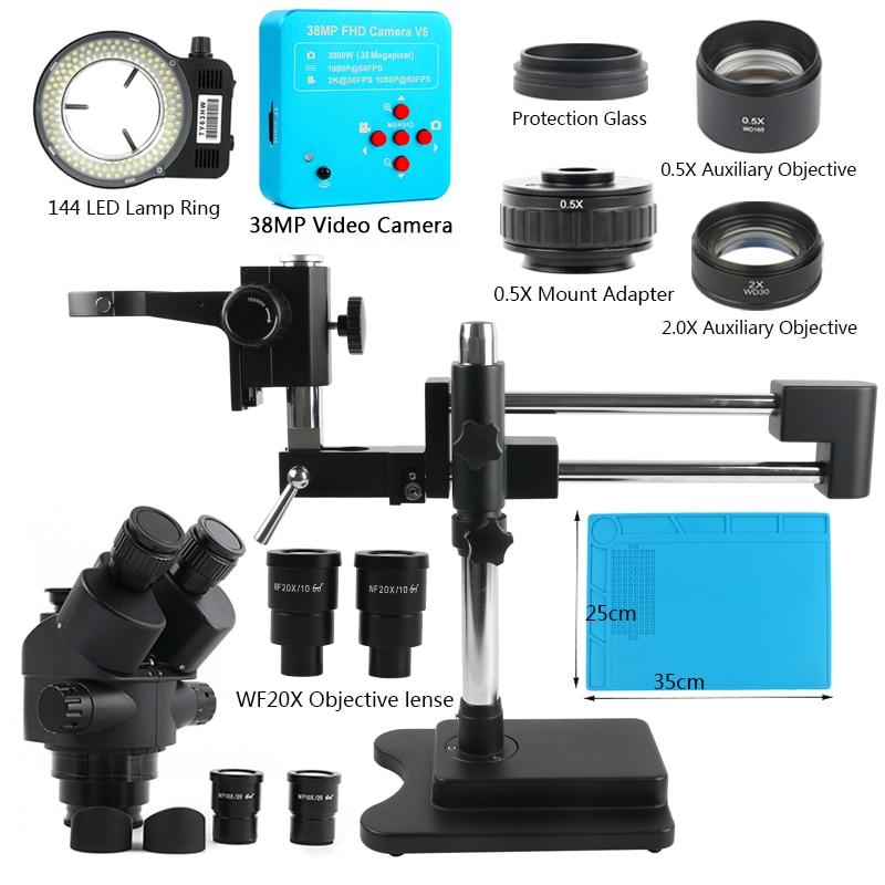 3.5X 7X 45X 90X Boom Duplo Suporte Trinocular Microscópio Estéreo Zoom Focal Simul Microscópio + 1080P 60FPS 2K 3800W 38MP HDMI USB