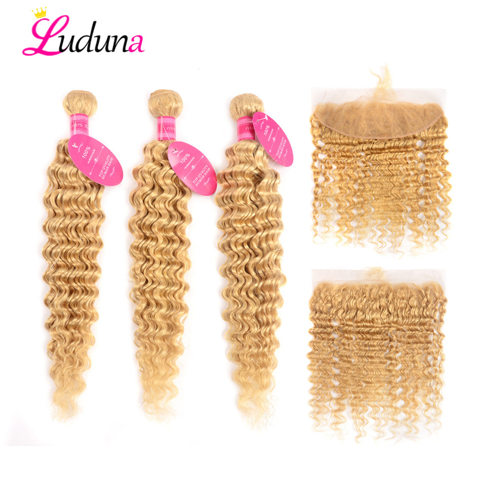 Luduna 613 Blonde Deep Wave Bundles With Closure Brazilian Hair Weave Human Hair 3 Bundles Remy Hair With Lace Frontal Closure