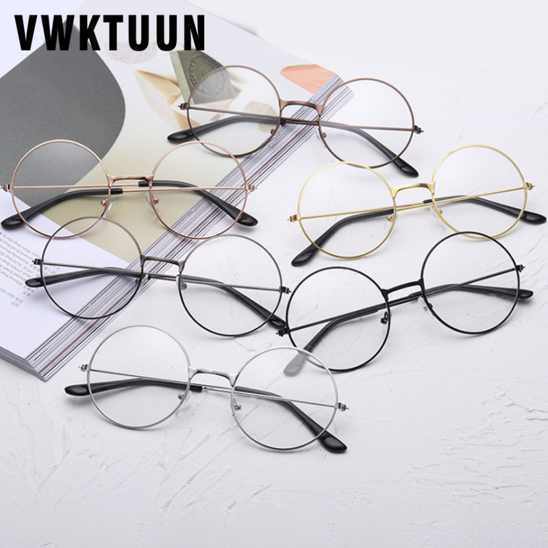 VWKTUUN Sunglasses Women Men Round Glasses Frames Flat Myopia Optical Eyeglasses Frames Metal Frame Artistic Simple Glass Frame
