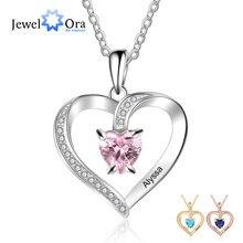 Pendentifs personnalisés à graver le nom et le cœur, colliers en zircone à personnaliser pour femmes, cadeau de fête des mères (NE103356)