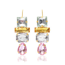 Luxury Geometric Clear Crystal Water Drop Shape Earrings Women Charm Rhinestone 4 Layer Dangle Earrings Wedding Brand Jewelry