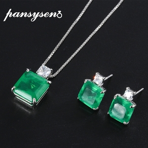 PANSYSEN Vintage Silver 925 Jewelry Emerald Gemstone Necklace Earrings Set Anniversary Cocktail Party Jewelry Sets Wholesale