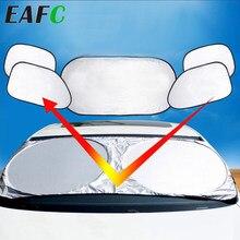 6Pcs Folding Silber Reflektierende Auto Windschutzscheibe Fenster Sonnenschutz Visier Schild Abdeckung Saugnapf Auto Sonnenschutzdach Sonnenschutz Vorhang