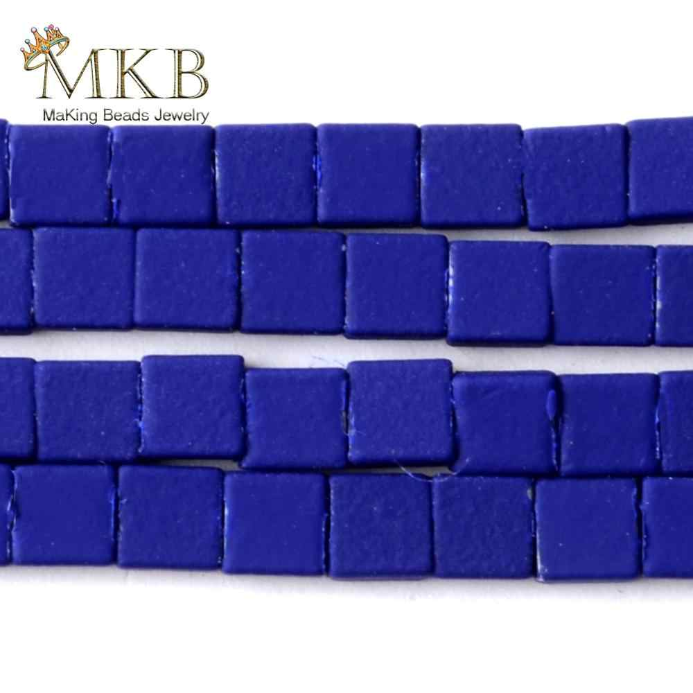 "4*4mm NATURAL Blue Hematite หินยาง Matte Small ลูกปัด Space ลูกปัดแบบหลวมสำหรับเครื่องประดับ DIY สร้อยข้อมือเครื่องประดับ Strand15"""