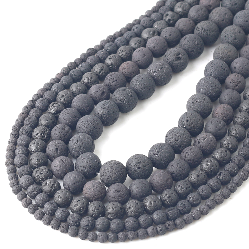 Wholesale Natural Nature Black Volcanic Lava Gemstone Round Beads 4//6//8//10//12MM