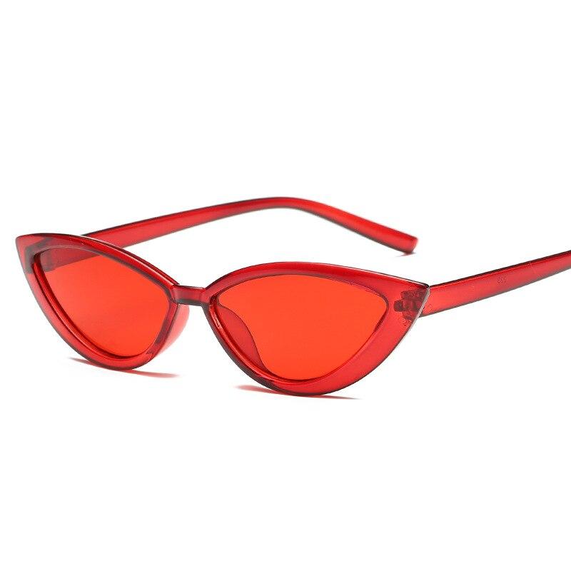 Fashion Women Cat Eye Sunglasses Brand Designer Vintage Plastic Small Frame Red Yellow Lens Female Sun Glasses UV400