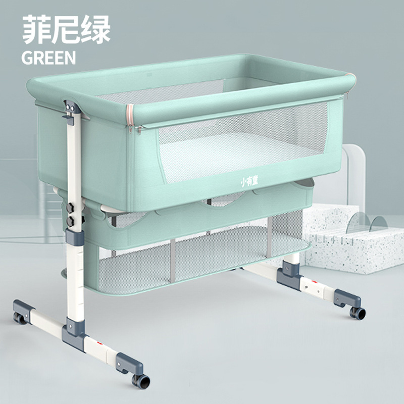 Portable Removable Crib Foldable High And Low Adjusting Stitching Large Bedside Bed Baby Lift Baby Bed