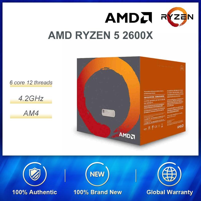 AMD Ryzen 5 2600X R5 2600X 3.6 GHz 6-Core 12-Thread CPU Processor L3=16M 95W YD260XBCM6IAF Socket AM4 New Sealed Box Cooler Fan
