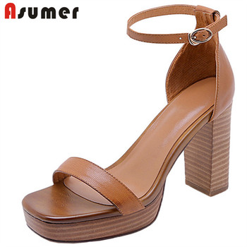 ASUMER 2020 newest 9.5cm high heels platform sandals women genuine leather shoes buckle vintage summer party shoes ladies
