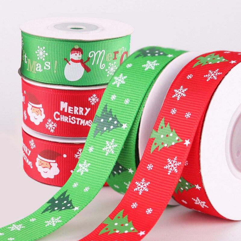 "5 Yds Christmas Merry Christmas Santa Grosgrain Ribbon 1/""W"