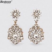 цена Bestessy New ZA Crystal Drop Earrings for Women Wedding Flower Rhinestone Dangle Statement Earrings Boho Jewelry Party Gifts