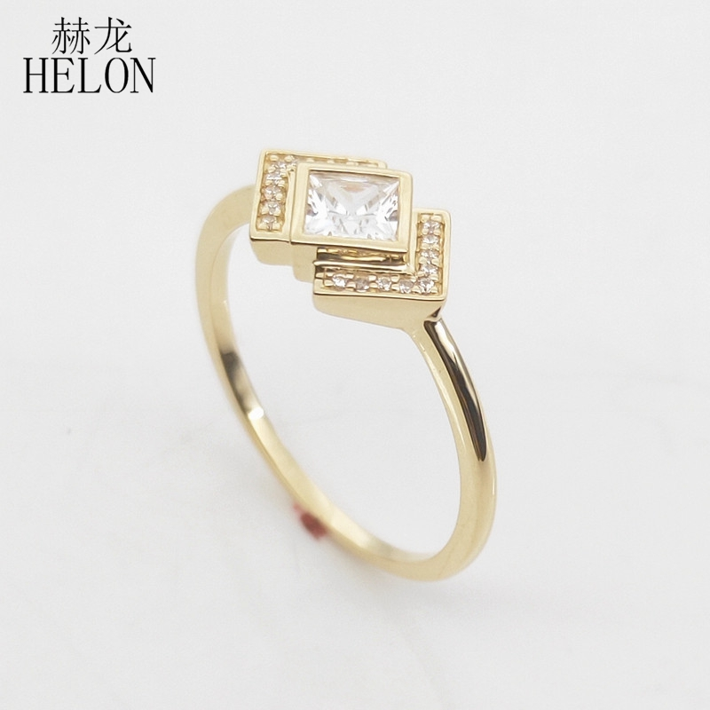 Image 3 - Solid 10k Yellow Gold Princess cut 4MM 100% Genuine AAA Graded Cubic Zirconia Engagement Wedding Women Trendy Jewelry Ring GiftRings   -