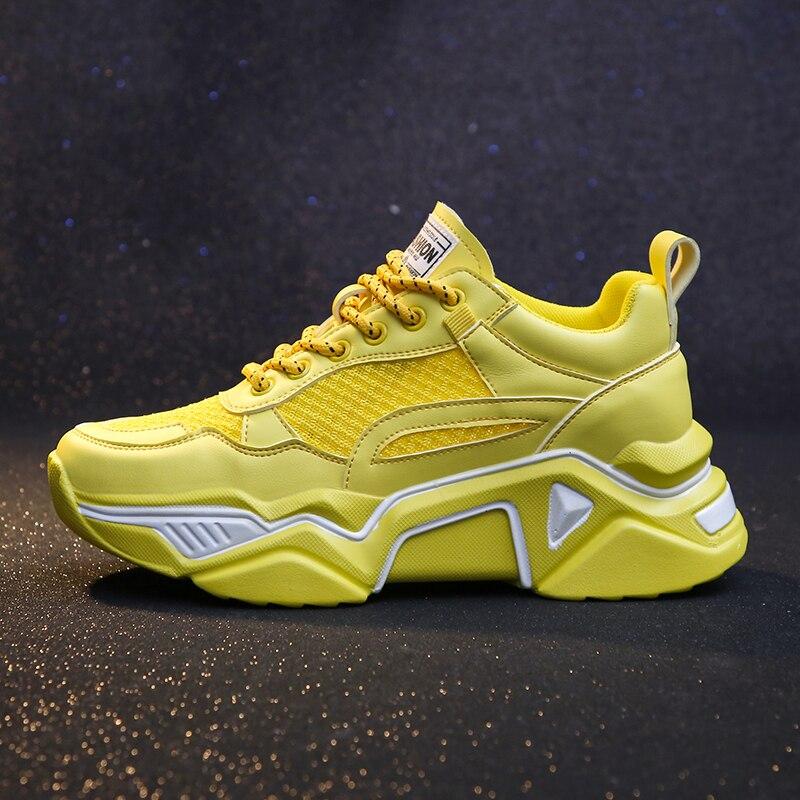 Fujin Chunky Women's Platform Sneakers Causal Shoes Walking 5CM INS Sneakers Platform Breathable Vulcanize Sneakers