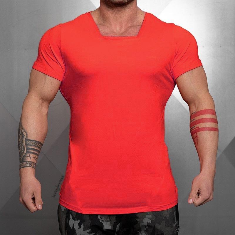 Novo verão dos homens de algodão cor pura gola quadrada manga curta camiseta halterofilismo tshirt ginásio roupas fitness camisa t apertado