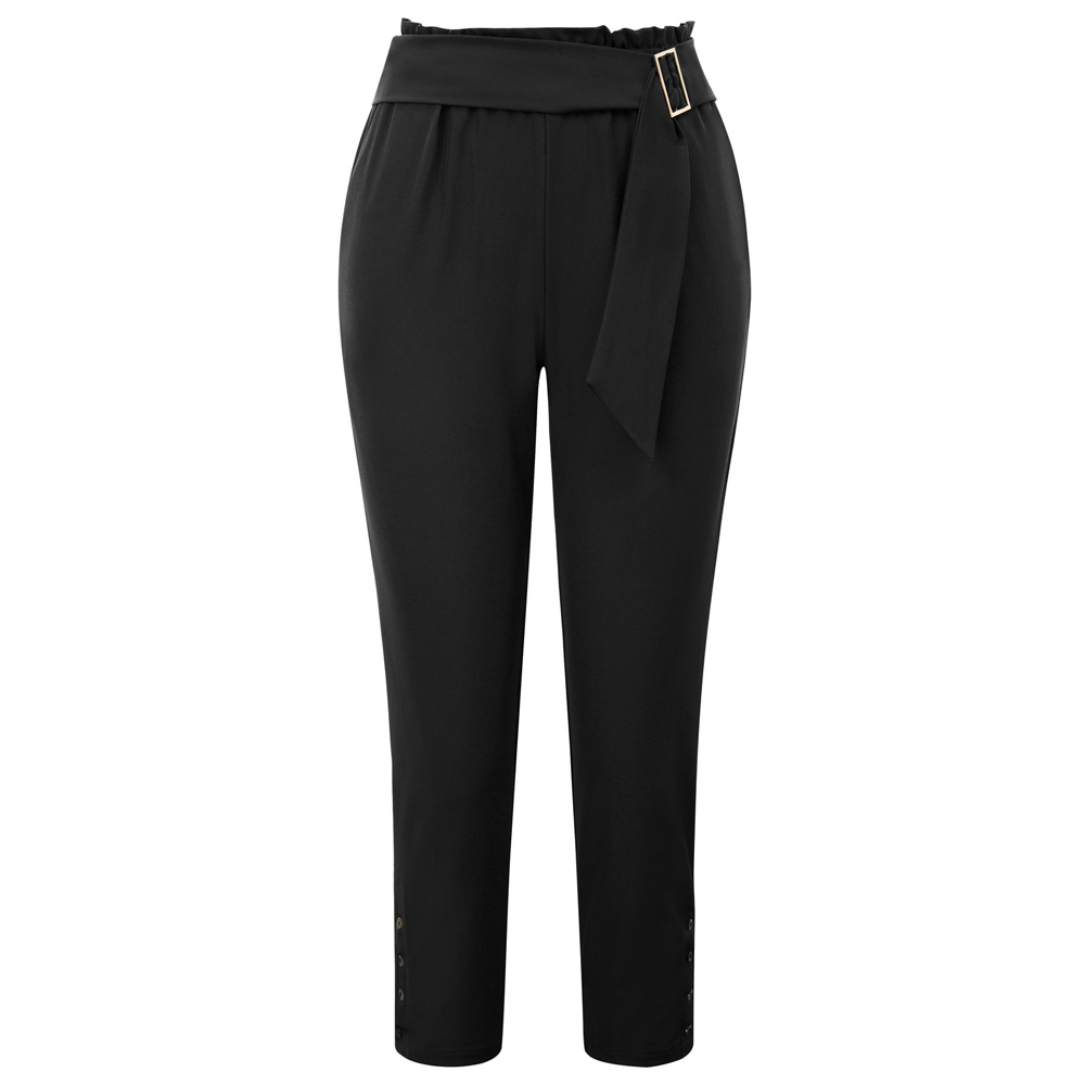 GK Women Ankle Length   pants   office lady work OL business solid color slim Skinny pencil   Pants     Capri   Elastic Waist Belt trousers