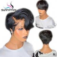 Sunnymay 13x4 Kurze Spitze Vorne Perücken Pixie Cut Perücke Wellenförmige Brasilianische Remy Haar 150% Glueless Spitze Vorne Menschlichen haar Perücken Pre Gezupft