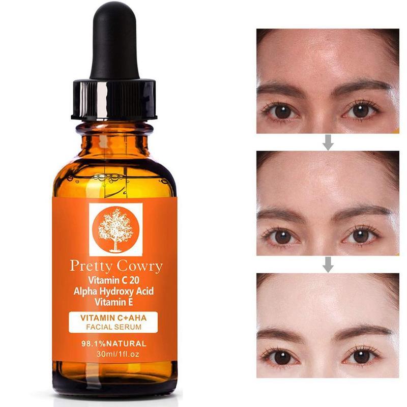 Pretty Cowry Brand Skin Care Vitamin C Natural Face Essence Serum Hyaluronic Acid Anti Wrinkle Remove Acne Cream 30ml