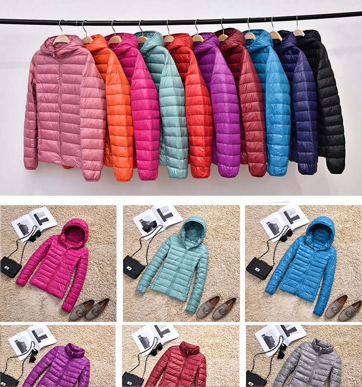 Winter Women 90% Ultra Light Down Jacket White Duck Down Hooded Jacket Long Sleeve Warm Coat Parka Female Solid Portable Outwear