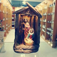 Статуя Святого семейства Рождественский орнамент Иисуса Христа Мэри Джозеф католический Статуэтка домашний Декор Рождественский подарок для мамы сцена свет фон