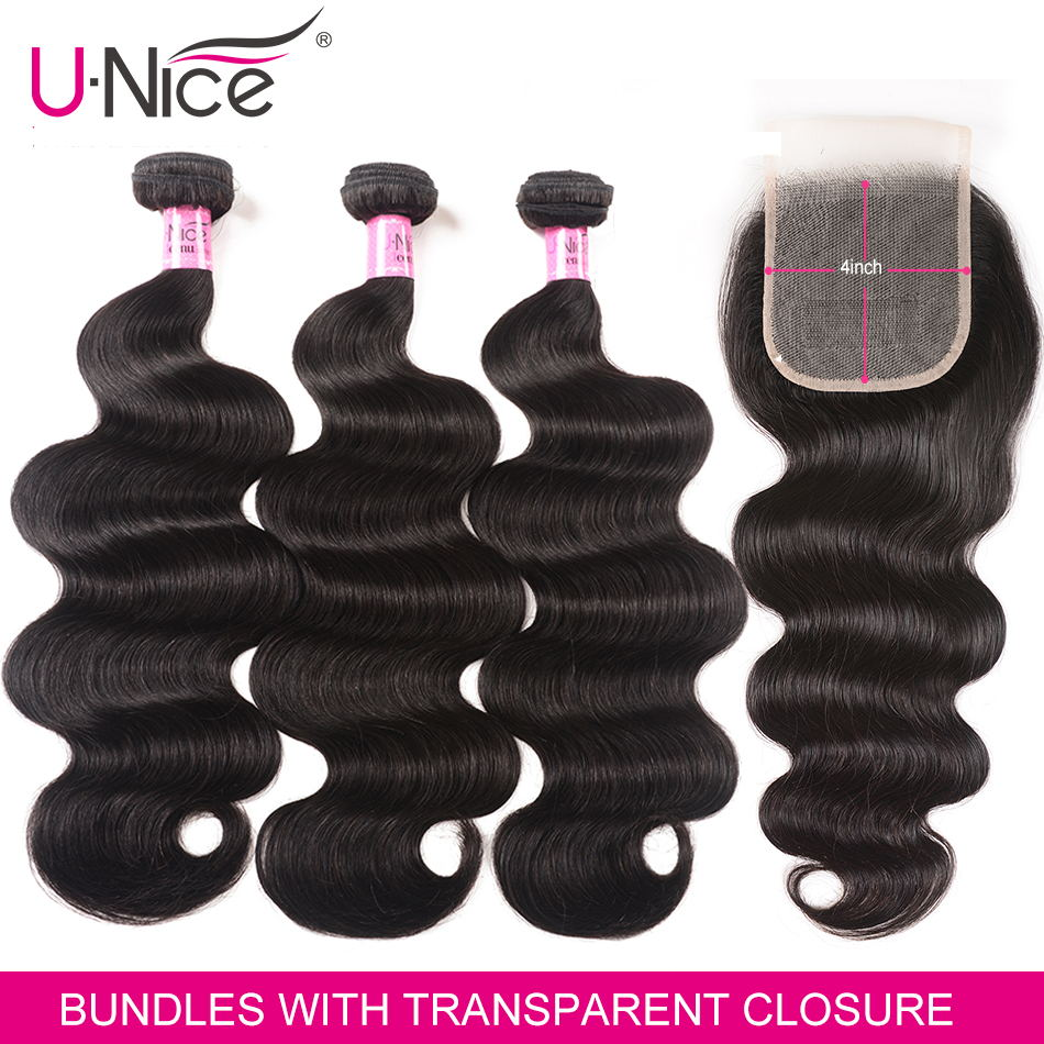 UNICE Hair Body Wave Brazilian Human Hair Bundles With Transparent Lace Closure 4x4 Remy Human Hair Bundles With Lace Closure