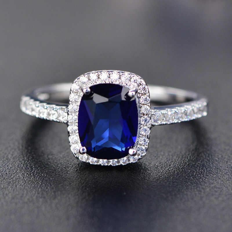 Thời Trang 100% Bạc 925 Sapphire Nhiều Màu Sắc Đá Quý Cưới Nhẫn Đính Hôn Cho Phụ Nữ Mỹ Món Quà Trang Sức Bán Buôn