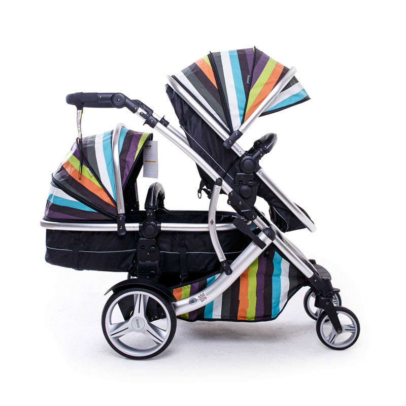 Luxury Twins Stroller 3 In 1 High Landscape Aluminum Frame Leather Egg Shell Folding Double Pram Two Baskets Baby Carriage