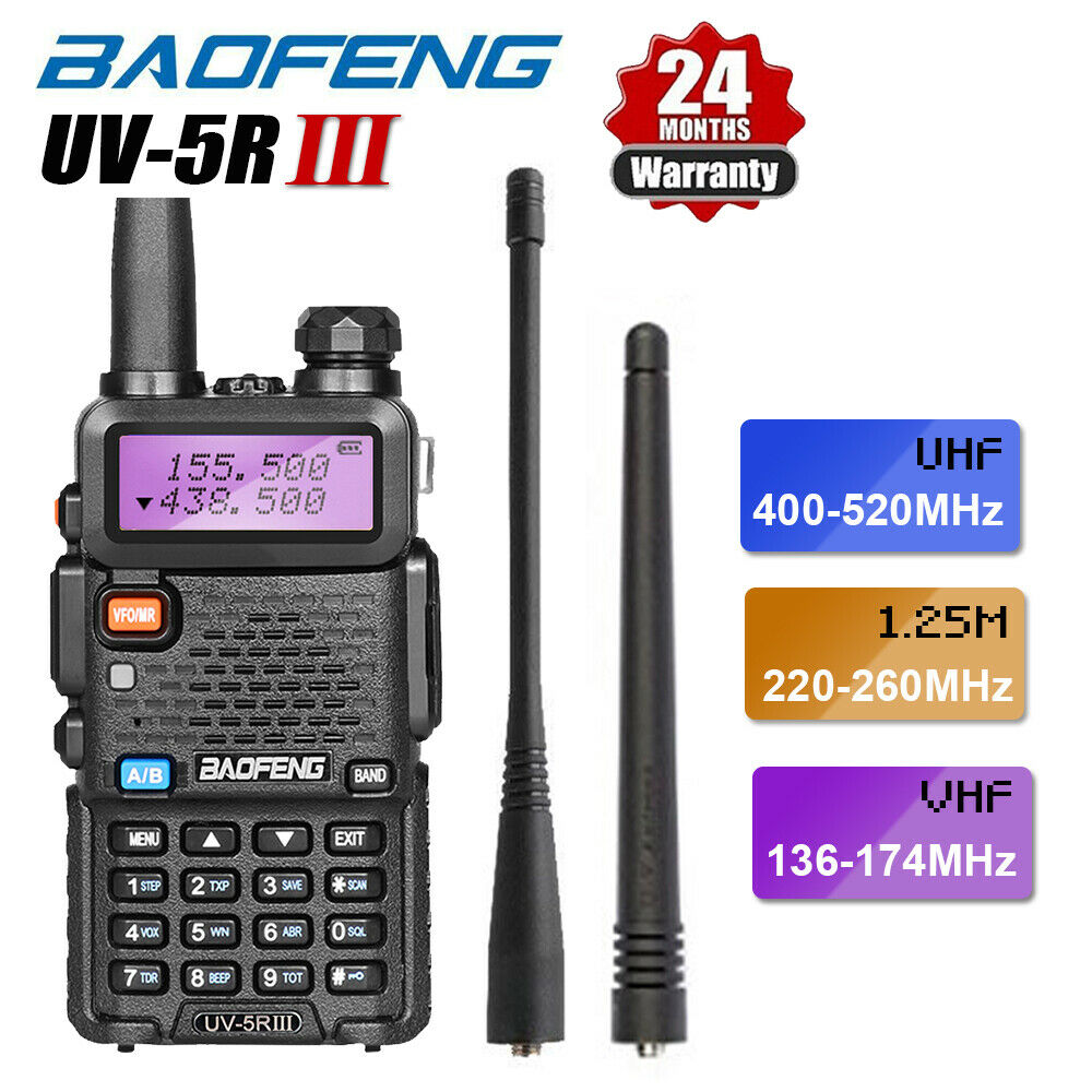 BAOFENG UV-5R III Tri-Band Walkie Talkie 5W 1800mAh Long Range Two Way Ham Radio + Earpiece