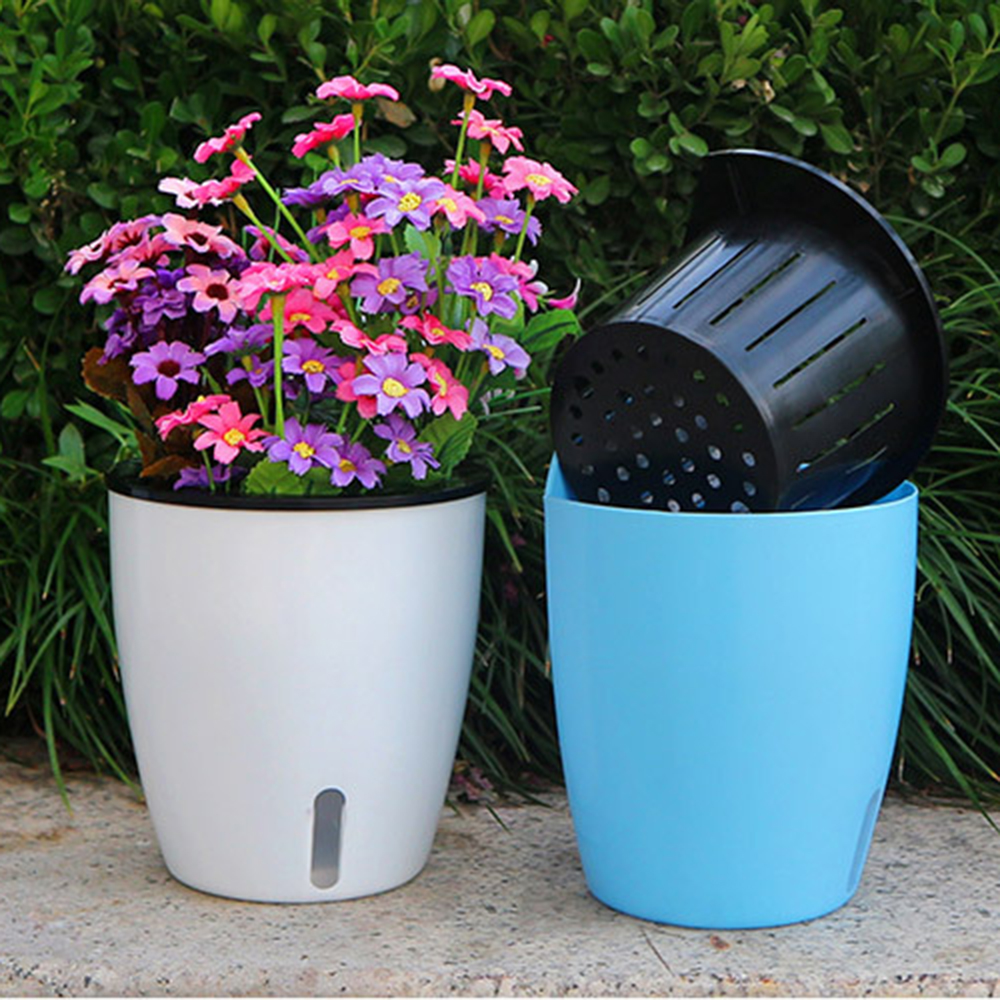2019 Self Watering Flower Pot Wall Hanging Resin Plastic Planter Durable For Garden Balcony