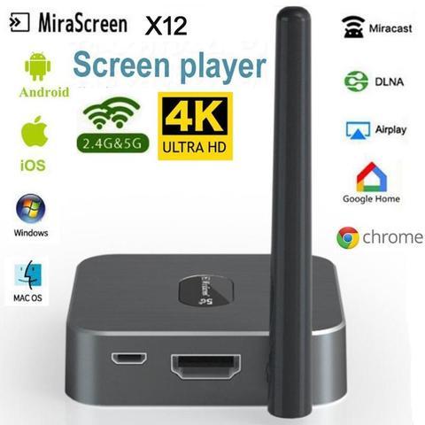 Hdmi sem Fio Mirascreen 4 k Receptor Dlna Miracast Airplay Tela Espelhamento Android tv Vara Vídeo Streamer Exibição X12 2.4g – 5g