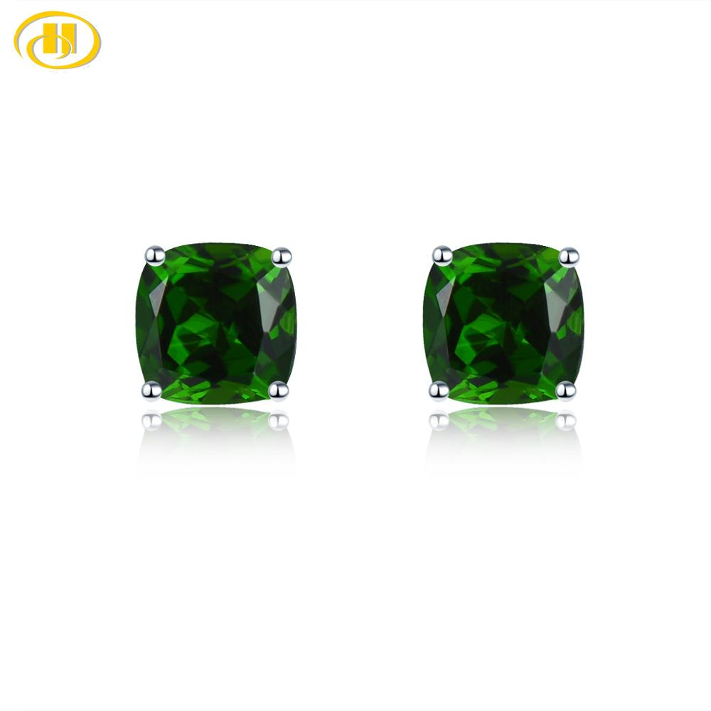 Hutang Cushion 5.0mm Genuine Diopside Stud Earrings 925 Sterling Silver Kid Earrings Korean Earings Gemstone Girls  Jewelry 2020
