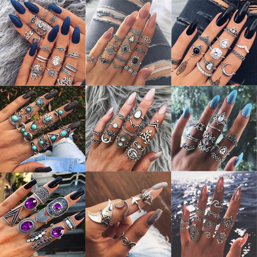 20 видов стилей Для женщин в богемном стиле винтажная корона цветок из складок сердце лотоса Star кристалл в форме листика опал кольцо с камнем...