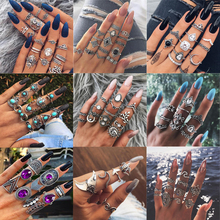 50 Styles Women Bohemian Vintage Crown Wave Flower Heart Lotus Star Leaf Crystal Opal Joint Ring Party Jewelry Silver Rings Set vintage heart flower feather cuff ring set