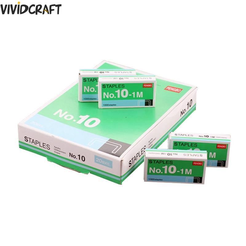 1000pcs/box Size No 10 Staples Box For Desktop Stapler Accessories Stationery Tapetool Metal Office Staples Normal Tools Y1D5
