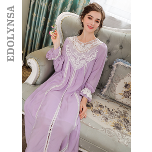 Image 1 - Женское платье для сна, кружевное винтажное платье принцессы с длинным рукавом, элегантный синий светильник, летняя хлопковая ночная рубашка размера плюс, T25