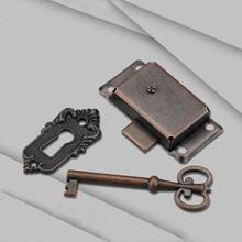 Cerradura de hierro de estilo antiguo Vintage portátil Durable + para cajón armario ropero armario puerta llave D5W3