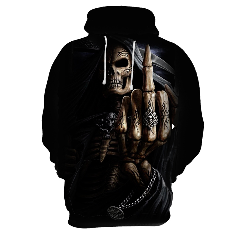 Finger Skull 3D Printing Hoodie Funny Sportswear Men's Sweatshirt Hooded Autumn Long-sleeved Pullover Streetwear