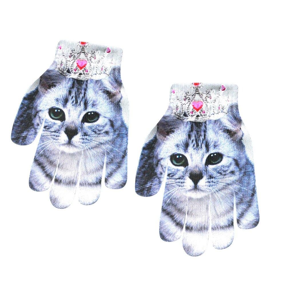 Модные Детские Зимние перчатки для девочек и мальчиков с милым 3D-принтом, теплые женские перчатки для улицы, женские зимние теплые перчатки для мобильного телефона - Цвет: C