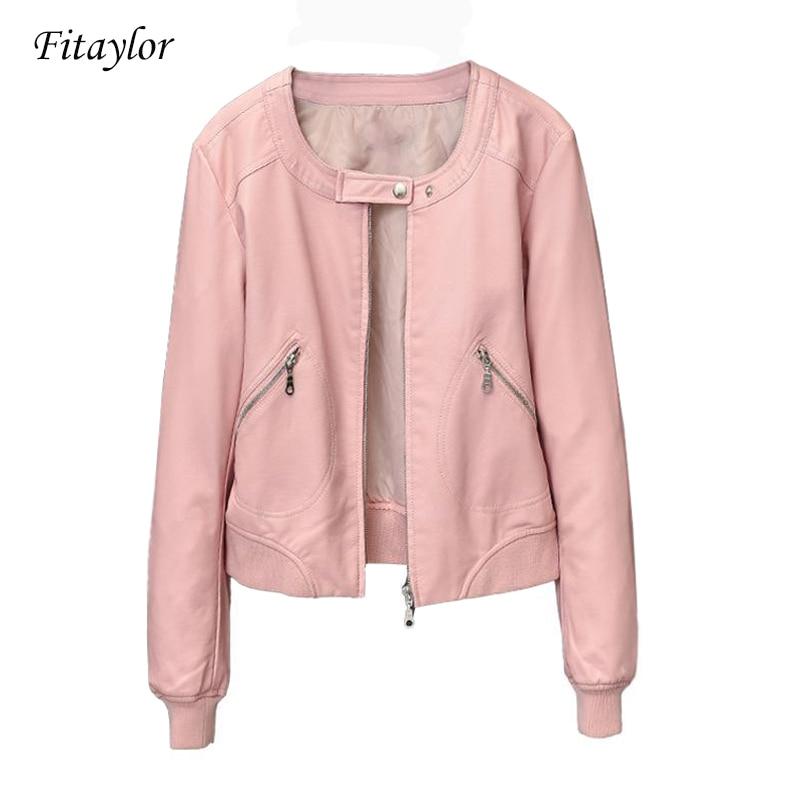 Fitaylor 2020 Faux Leather Jacket Women O-neck Zipper Casual Jackets Female Short Biker Coat Plus Size S-4XL Basic Outwear