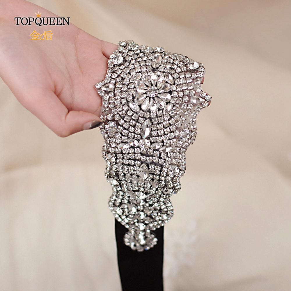 TOPQUEEN S233 Crystal Rhinestones Belt Bride Party Dresses Sash  Wedding  Accessories Sashes Belt Wedding Bridal Sashes