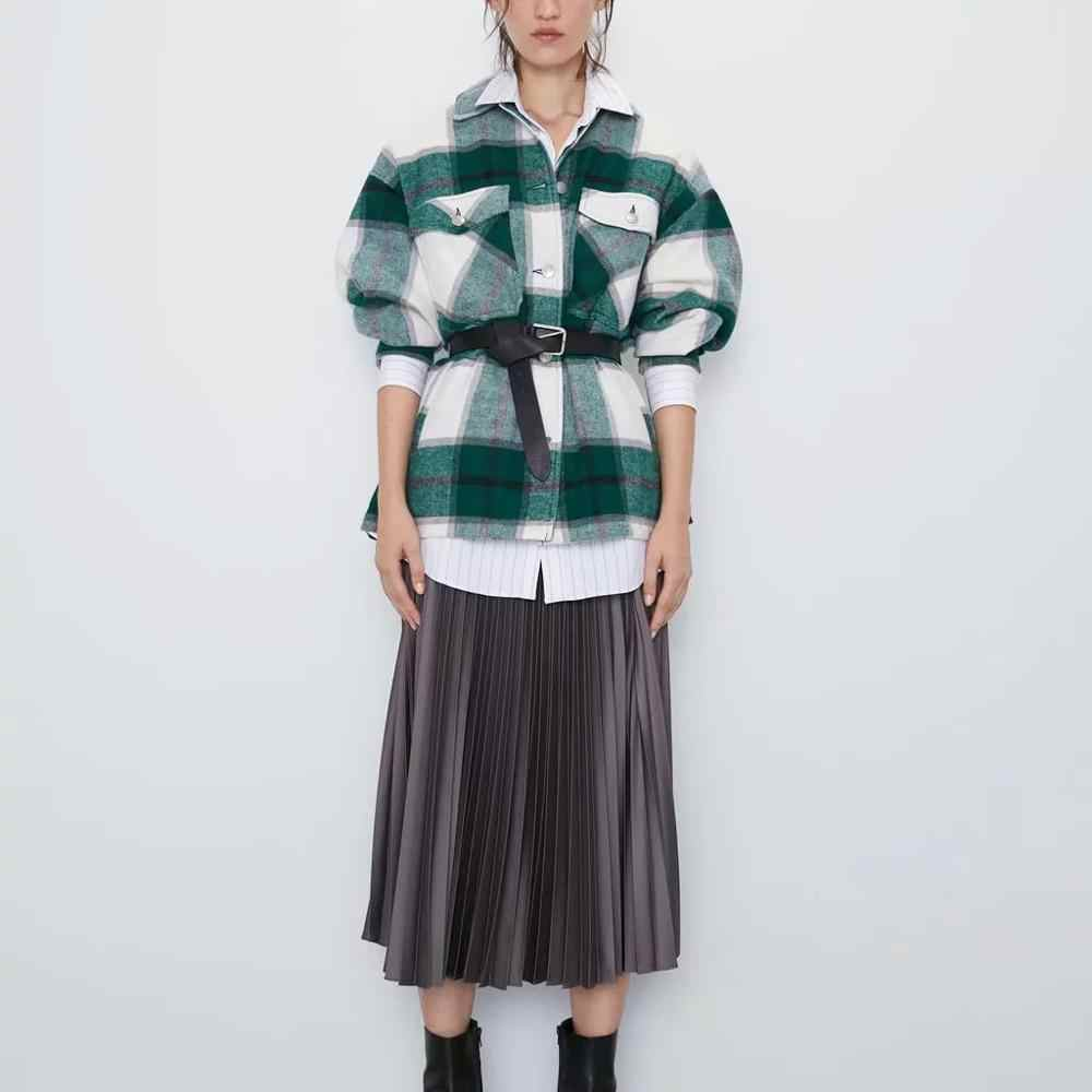 Za 秋冬女性の格子縞のウールシャツプラスツイード厚いコート暖かい生き抜くヴィンテージオーバーサイズのコート女性 shirtwear