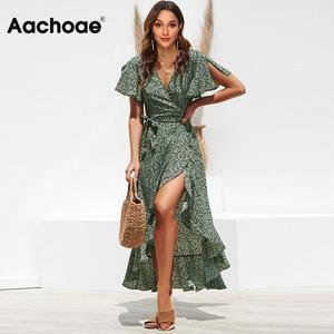 Aachoae Long Wrap Dress 2020 Summer Boho Style Floral Print Maxi Beach Dress Sexy Side Split Party Dress Sundress Vestidos(China)
