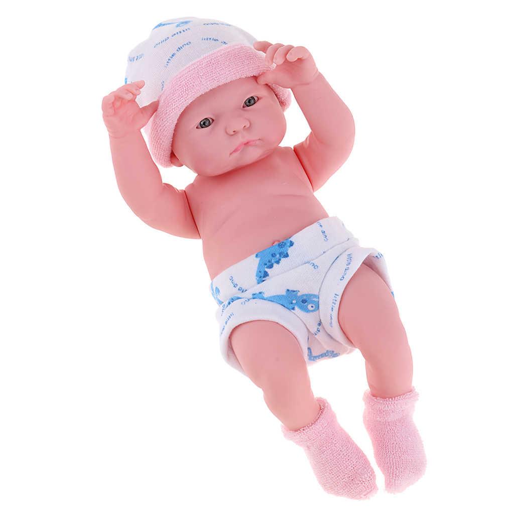 Muñeca de silicona suave realista de 25cm, niña Reborn en ropa de juguete rosa