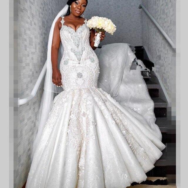 יוקרה חרוזים בת ים חתונת שמלות דובאי ספגטי קריסטל בתוספת גודל חתונה Vestidos סקסי אפריקאיות חזור כלה שמלה